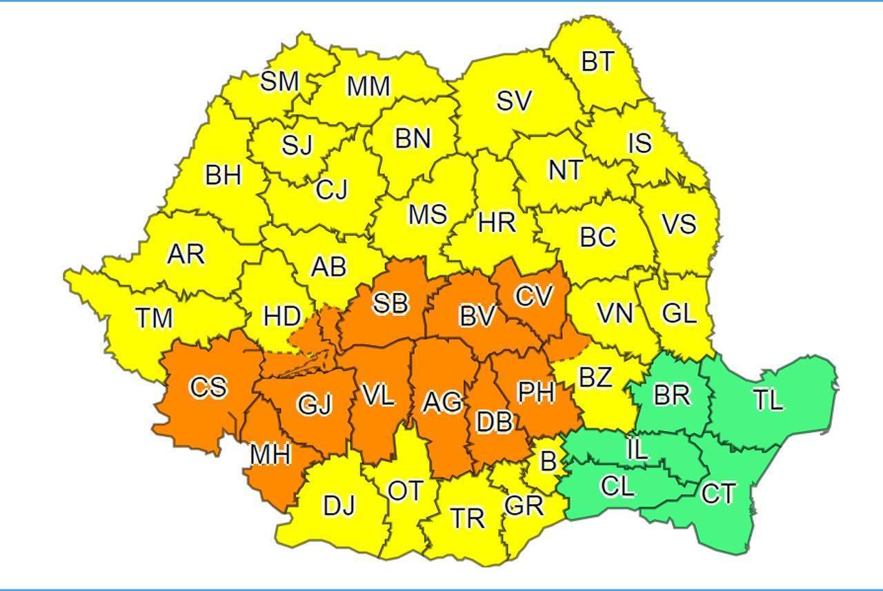 România, sub cod galben și portocaliu de vreme severă
