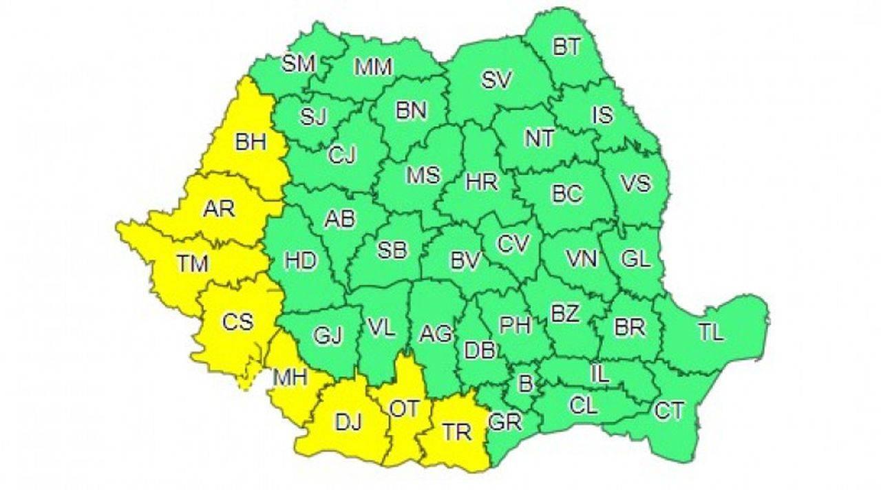 Opt județe din România intră în cod galben de caniculă