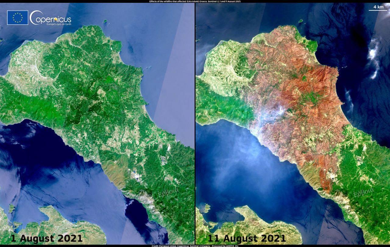 Insula Evia, înainte și după ce a fost mistuită de flăcări! Imaginile au făcut înconjurul lumii