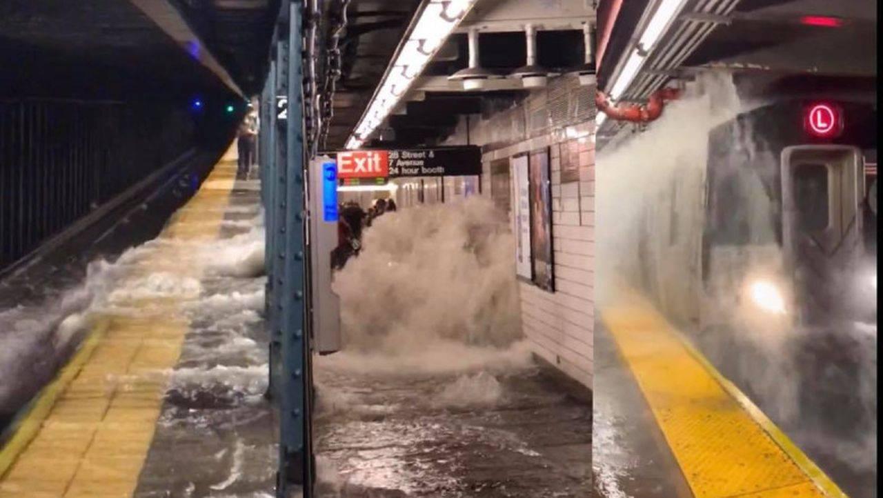 Imagini istorice la metroul din New York. Inundațiile au făcut ravagii