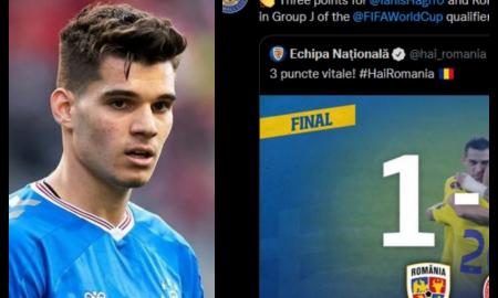 Echipa la care Ianis Hagi joacă, Glasgow Rangers, se mândrește cu el. Scoțienii felicită România pentru ultimele meciuri