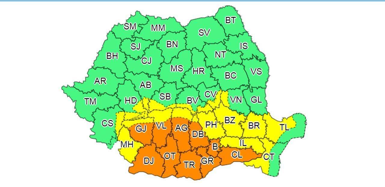 COD PORTOCALIU de vreme severă în România! ANM a emis o alertă meteo valabilă până sâmbătă